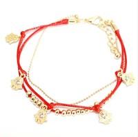 Hot selling Evil eye decorated charm gold thin chain bracelet 12 pcs/lot