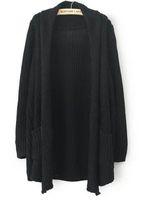 2013 New Style Autumn Cardigan Womens Fashion Black Long Sleeve Pockets Loose Cardigan Sweater, Free Shipping!