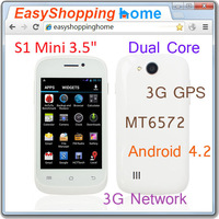 "S1 Mini 3.5"" Android 4.2 Dual Core MT6572 Single Micro Sim 3G GPS Multi-touch Capacitive Phone"