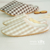 Muji high quality thermal home floor soft outsole lovers plaid slippers