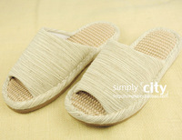 Summer new arrival natural linen ec home lovers floor slippers 2 double