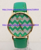 Wholesale - 2014 New Geneva Leather Waves Stripe face golden cases women ladies girls fashion Platinum quartz wrist watches