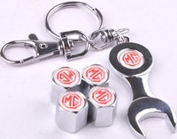 Free shipping for MG car tire valve cover all metal valve caps with wrench