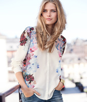 New Fashion Chiffon Floral Print  Blouse long sleeve women tops
