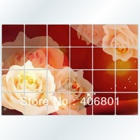 Free shiping 60*90CM New Oil water Proof Large Rose Pattern Sticker Kitchen Wall Paper Decals