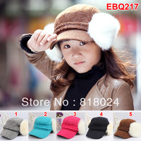 1pc 5 Colors Autumn Winter Boys Girl Baseball Caps with warm Earmuff Children's Cotton Sport Hat  Free Shipping for 3-8 Yrs Kids