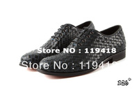 Free shipping luxury brand men leather shoes men's leather shoes new mens shoes genuine leather brand black navy weaved 39-45#
