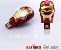 Free shipping - 2013 Hot sale Fashion Avengers Iron Man 3 LED Flash 4-32GB USB Flash 2.0 Memory Drive Stick Pen/Thumb/Car/Gift