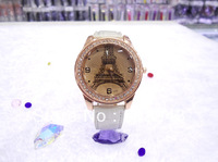 Quartz Watches Women dress Casual Luxurious Imitation Diamond Paris Eiffel Tower Wristwatches Ladies Leather Free Shipping 30pcs