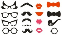 Cute! 16 styles Paper Craft Moustaches, Lips, Glasses, Bows on sticks Wedding Party Props