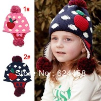 Free shipping 2013 new autumn winter Children's knitting hat baby ear protection hat children accessories MZ1619