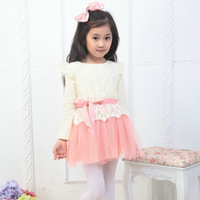 2013 New Fashion The Autumn Spring Kids Girls Baby Child Party Birthday Long Sleeve Flower  Lace Yarn Ball Gown Dresses D013044
