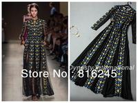 VintageCatwalk Printed Mesh Insert Maxi Evening Dress long sleveves Geometric color block printing longline dress