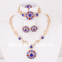 2013 vintage Dubai African18K Gold Plated blue ball Fashion Wedding Bridal accessories pendant necklaces Jewelry Set