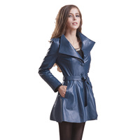 free shipping  haining women 's fashion genuine leather long trench fashion women sheep  leather jacket