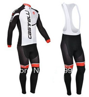 2013  Long Sleeve Winter Fleece Castelli Racing Jersey+Bib Pant Made From High Quality Polyester/Cycling Wear/Sport Cloth