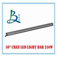 NEW 50 inch 250w single row cree chips LED light bar driving light with spot/flood/combo beam