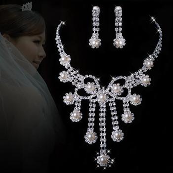 A027 Neckace earrings set Elegant Горный хрусталь Crystal Свадьба Bride Party B11