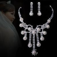 A027 Neckace earrings set Elegant Rhinestone Crystal Wedding Bride Party  B11