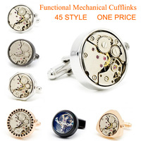 Watch cufflinks  Crazy promotion 2 Pair /lot  2013 Fashion men jewelry 45 style watch movement cufflinks Wholesale Can be mixed