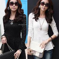 Free Shipping Fashion Autumn  Womens Ladies Slim Fit Lace Peplum Tunic Tops Blouse Skater T-Shirt  2 Color S M L XL XXL