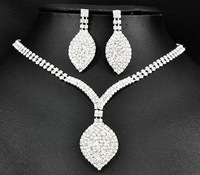 3set/lot Shiny Rhinestone Bride Necklace Earring Set Crystal Bride Wedding Jewellery Set Free Shipping 6493