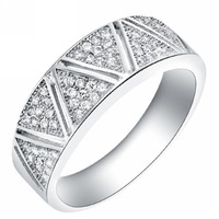 Fashion New Jewelry 925 Sterling Silver Ring 18K Platinum GP Crystal anillo de plata for Women Size 7/8/9