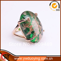 New Arrival WNRING633 DuoYing Jewelry Factory Green Natural Stone Rose Gold Plated Engagement Ring Wholesale