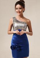 Free Shipping One Shoulder Royal Blue Mermaid Dress Short Formal Dress Flowers Evening Dresses