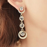 C4045  Oriental beauty bridal accessories Korean jewelry full circle shiny fashion earrings