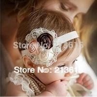 1PCS Retail Infant flower headband Babies pink lace hairband Toddler Baby girls Felt Flower headbands Free shipping A6