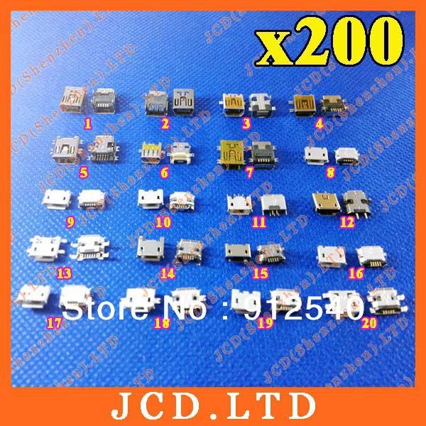 Wholesale price 20 Models 200pcs Widely Using Micro Mini USB Connectors Plug jack for MP3, MP4, Phone, Tablet, Netbook(China (Mainland))