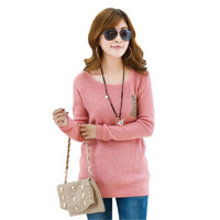 2014 New Autumn Arrival Pullover O-neck Loose Sweater Basic Sweater Women's Outerwear Knitwear 7Color