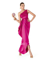 2014 hot saleFree Shipping 2014 New Fashion One Shoulder Applique Satin Ankle Length Evening Dresses Ladies Dress