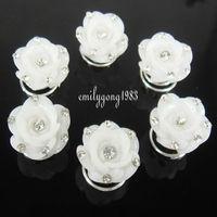 20Pcs Wedding White Flower Crystal Hair Twists Spins Pins SP-219