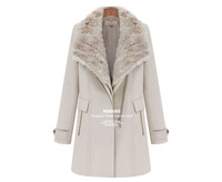 Womens Removable fur collar long section thick warm woolen coat jacket outerwear CL_56