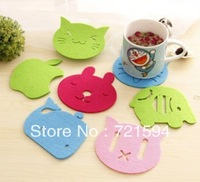 Free Shipping 30Pcs/Lot Creative Home DIY Candy Color Anti-skid Felt Cartoon Cup Pad Insulation Eat Mat Table Mat