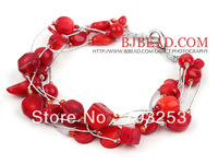 FreeShipping!! Bracelet for Women Multi Strands Assorted Red Coral Beads Bracelet with Silver Color Wire