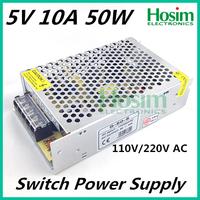 5V 10A 50W Mini size LED Switching Power Supply Transformer 110V 220V AC to DC 5V output, for LED Strip light for CCTV