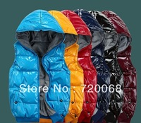 free shipping 2013 new men's winter thick glossy vest down vest to wear double-sided
