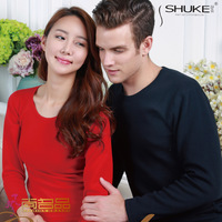 Shukeyev thermal underwear female 2013 lovers o-neck thermal underwear sets solid color thickening thermal