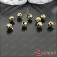 (23815)Free Shipping Wholesale 6MM Antique Bronze Brass and Steel Metal Jingle Bell Charms Christmas Jewelry Gift 100PCS
