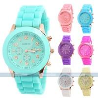 3pcs/lot Casual Watch Geneva Unisex Quartz watch men women Analog wristwatches Sports Watches Rubber Silicone 13 color Choose