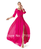 2014 hot saleFree Shipping 2014 New Fashion Half Sleeves Chiffon Beading Side Split Long Prom Dresees Evening Gown Abayas