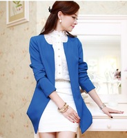 2013 Autumn Vintage Women's Candy Color Polka Dot Cuff Slim Waist Slim Small Suit Jacket Suit