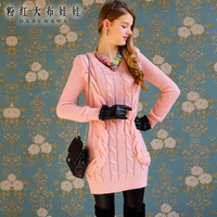 2013 autumn and winter Pink twisted slim long design women's dress