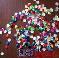 Free shipping 8mm colorful Flat aluminium round pills panel pressing  hot fix nailhead Rhinestud DIY Spike accessory 500pcs/lot