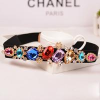 Accessories Arylic Crystal Women's Cummerbund Decoration Elastic Waist Belt For Women Rhinestone Girdle Diamond  Strap