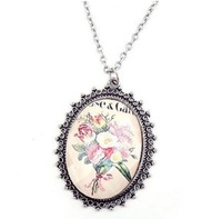 Min.order is $15 (mix order)Free Shipping vintage flowers pattern oval pendant necklace metal chain magnetic gift for girls# 649