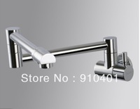 Free Shipping Wholesale And Retail Promotion  NEW Wall Mounted Chrome Brass Kitchen Faucet Folding Swivel Spout Sink Mixer Tap